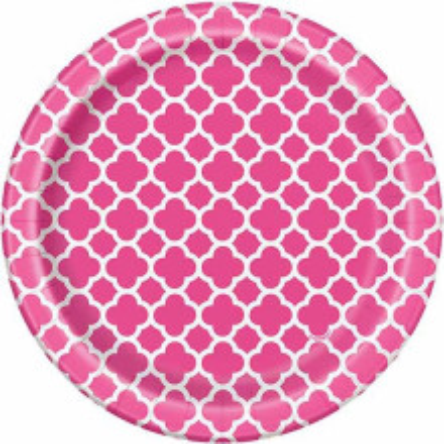 Quatrefoil pink krožniki 18 cm