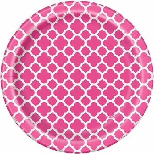"""Quatrefoil pink plates 7"""""""