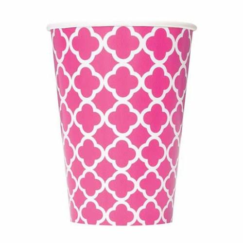 Quatrefoil pink cups