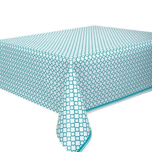 Quatrefoil caribbean teal tablecover