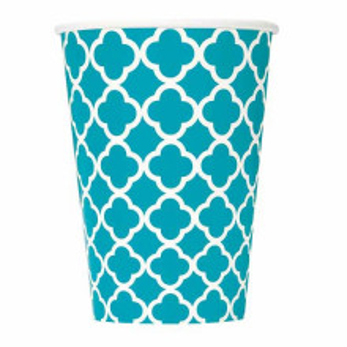 Quatrefoil caribbean teal cups