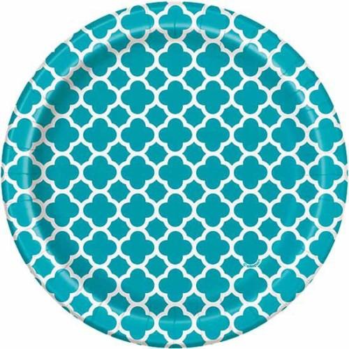 Quatrefoil turkizni krožniki 18 cm
