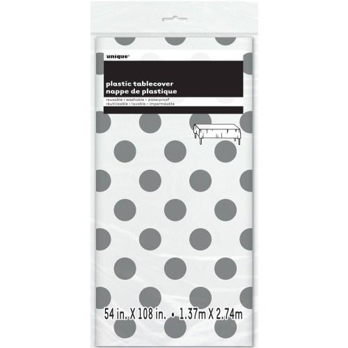 Silver polka dot tablecover
