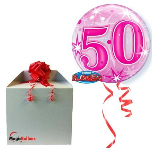 50 Pink Starbust Sparkle - B.Ballon in Paket