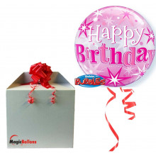 Birthday Pink Starbust Sparkle - b.balloon in a package