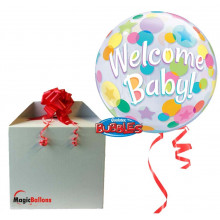 Welcome Baby Colourful Dots - B.Ballon in Paket