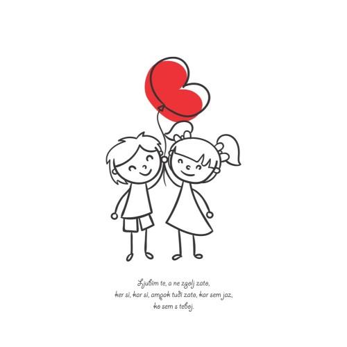 Greeting card Ljubim te