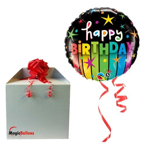 Bday colorful stripes - folija balon v paketu
