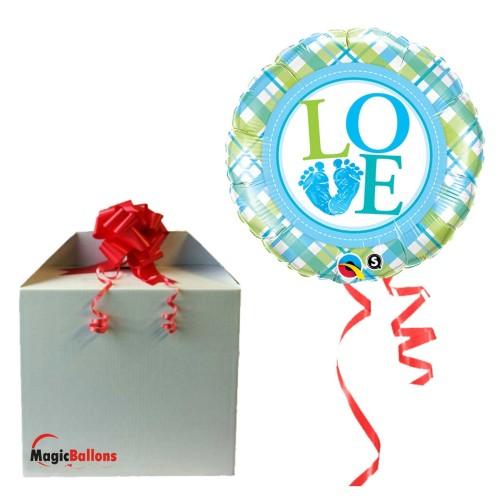 Baby boy LO(feet)E  - Folienballon in Paket
