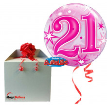 21 Pink Starbust Sparkle - b.balloon in a package