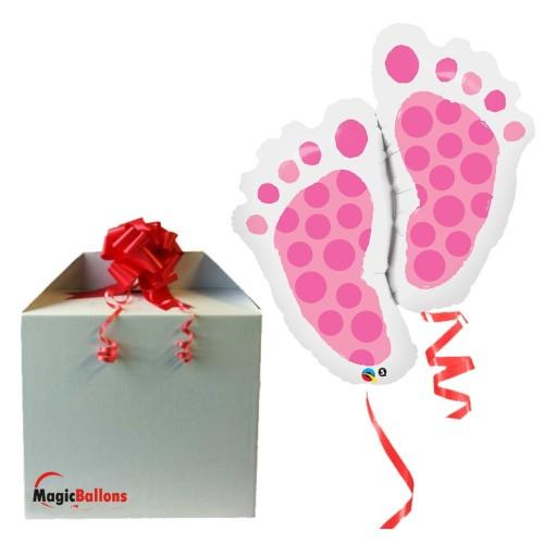Baby Feet Pink - Folienballon in Paket