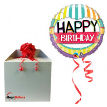 Bday striped awning - foil balloon in a package