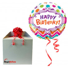 Birthday Chevron Dots - foil balloon in a package