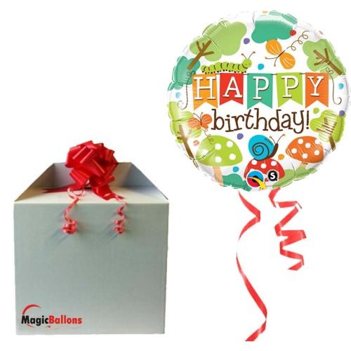 Birthday Banner Garden - foil balloon in a package