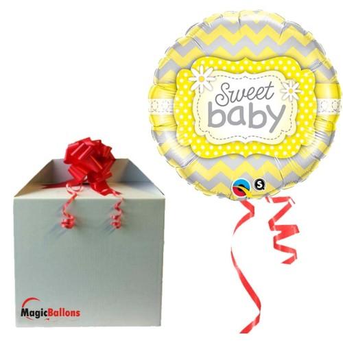 Sweet Baby Yellow Patterns - Folienballon in Paket