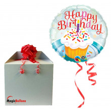 Birthday Cupcake & Sprinkles - foil balloon in a package