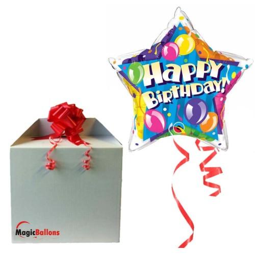 Birthday! Sparkling Balloons Stars - Folienballon in Paket