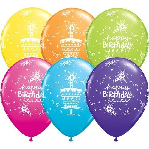 Lateks baloni 28 cm - Bday Cake & Candle