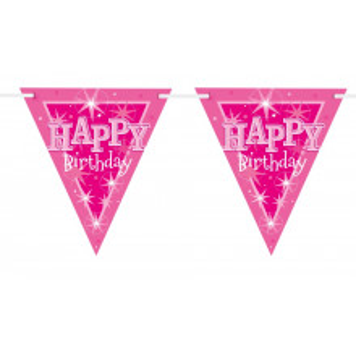 Happy Bday pink Sparkle flag banner