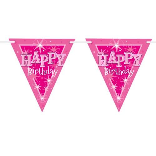Happy Bday pink Sparkle zastavice