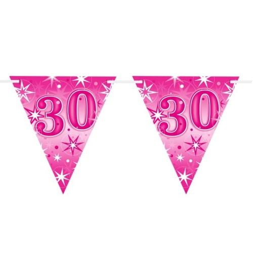 Age 30 pink Sparkle  flag banner