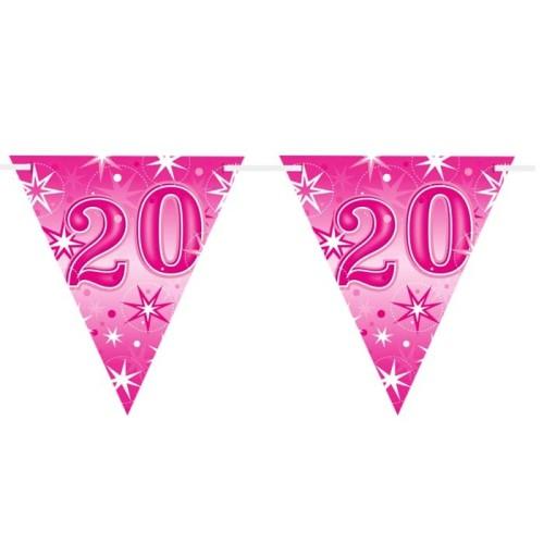 Age 20 pink Sparkle  flag banner