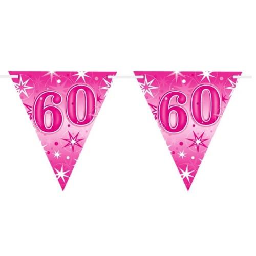Age 60 pink Sparkle  flag banner