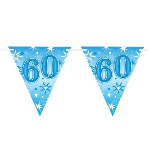 Age 60 blue Sparkle  flag banner