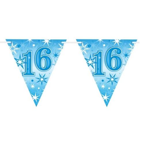 Age 16 blue Sparkle  flag banner