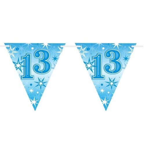 Age 13 blue Sparkle  flag banner