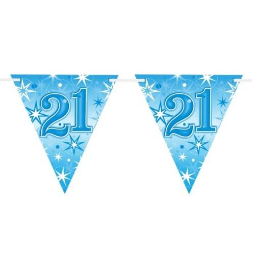 Age 21 blue Sparkle  flag banner