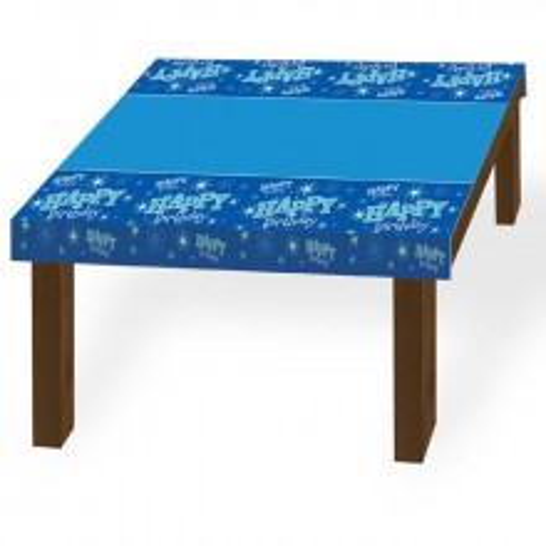 Happy Birthday blue Sparkle tablecover