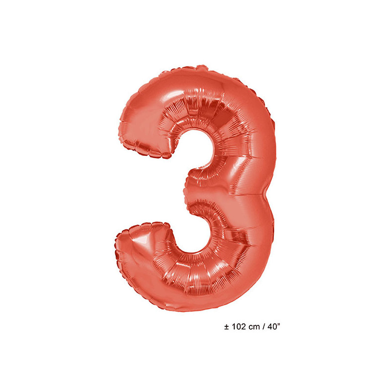 Foil balloon number 3 - red