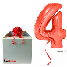 Foil balloon number 4 - red
