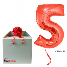 Foil balloon number 5 - red