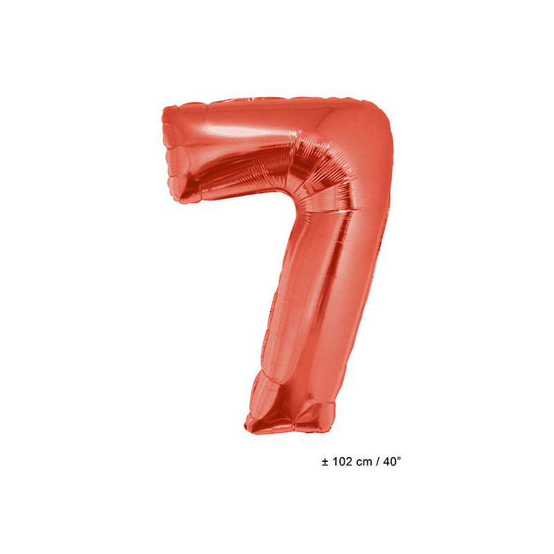 Foil balloon number 7 - red