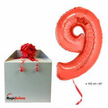 Foil balloon number 9- red