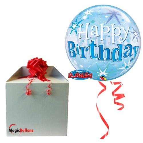 Birthday Blue Starbust Sparkle - B.Ballon in Paket
