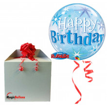 Birthday Blue Starbust Sparkle - b.balloon in a package
