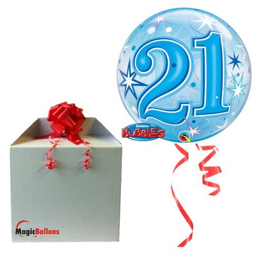 21 Blue Starbust Sparkle - B.Ballon in Paket