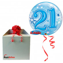 21 Blue Starbust Sparkle - b.balloon in a package