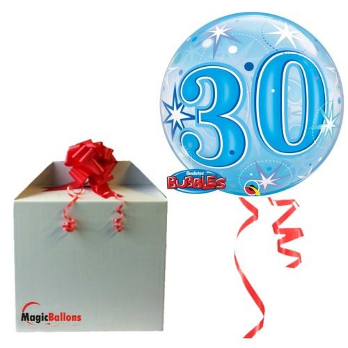 30 Blue Starbust Sparkle - B.Ballon in Paket