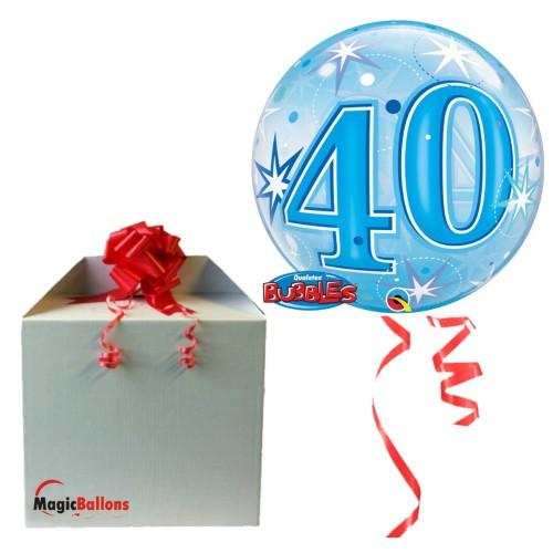 40 Blue Starbust Sparkle - B.Ballon in Paket