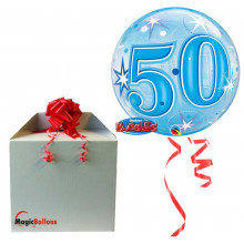 50 Blue Starbust Sparkle - B.Ballon in Paket