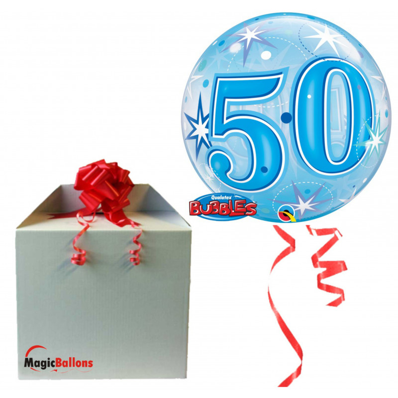 50 Blue Starbust Sparkle  - b.balloon in a package