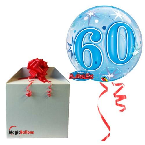 60 Blue Starbust Sparkle - B.Ballon in Paket