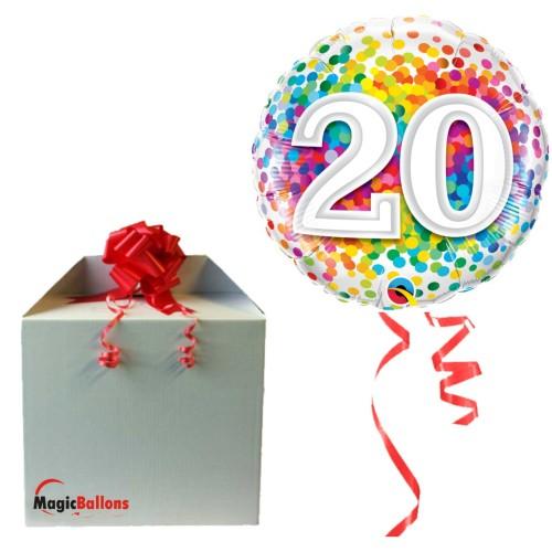 20 Rainbow Confetti - Folienballon in Paket