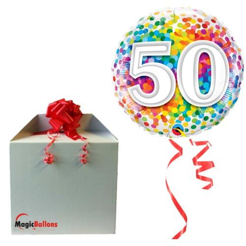 50 Rainbow Confetti - Folienballon in Paket