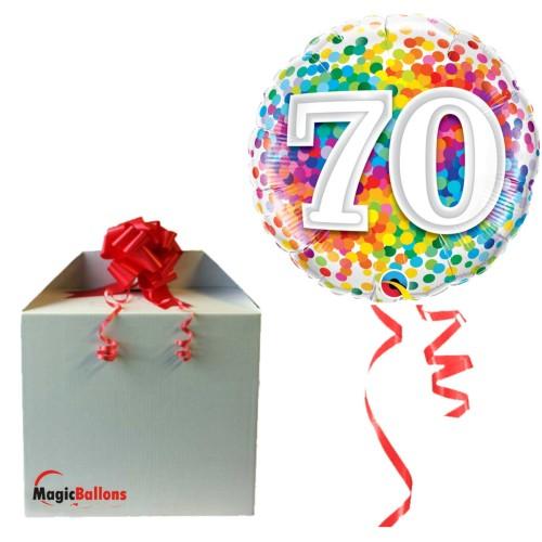 70 Rainbow Confetti - Folienballon in Paket