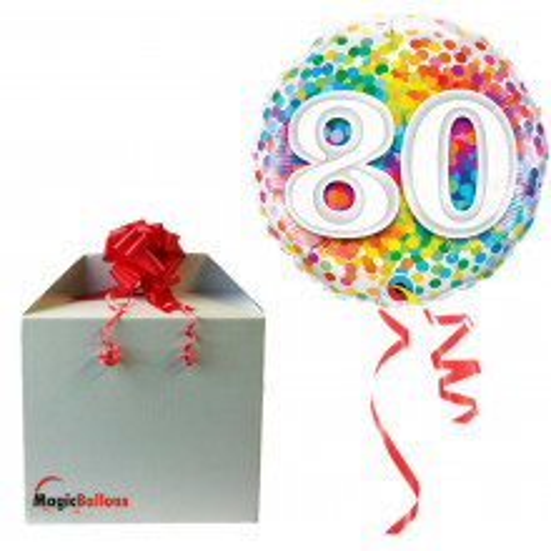 80 Rainbow Confetti - Folienballon in Paket